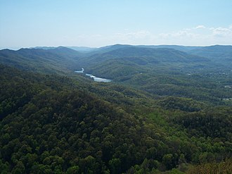 Cumberland Gap National Historical Park - View from the Pinnacle Overlook toward the southwest, overlooking Fern Lake and the surrounding park, 2009