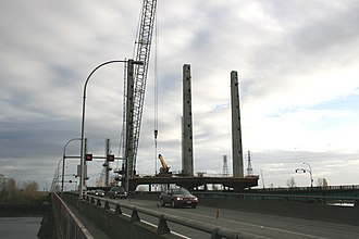 Pitt River Bridge - Image: Pitt river bridge construction