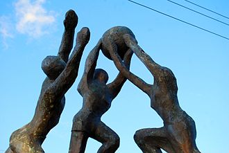 History of netball - Netball sculpture in Trinidad and Tobago outside the National Stadium, used for the 1979 World Netball Championships.