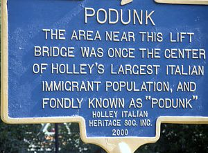 Podunk - A sign in Holley NY