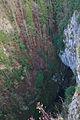 Pohled na dno propasti z Horního můstku, Macocha, Ostrov u Macochy, okres Blansko.jpg