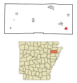 Poinsett County Arkansas Incorporated and Unincorporated areas Tyronza Highlighted.svg