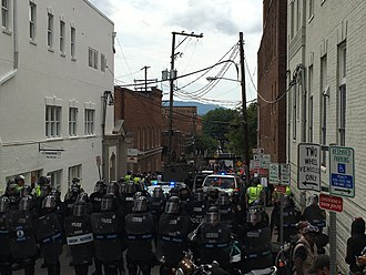 Unite the Right rally - Police block the site of the vehicular crash