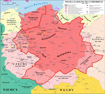 Poland expanded under its first two rulers. The dark pink area represents Poland at end of rule of Mieszko I (992), whereas the light pink area represents territories added during the reign of Boleslaw I (died 1025). The dark pink area in the northwest was lost during the same period. Polska 992 - 1025.png