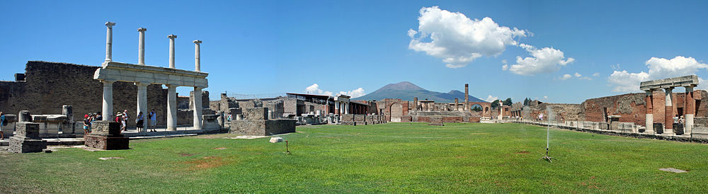 The Forum of Pompeii with the Vesuvius in the background