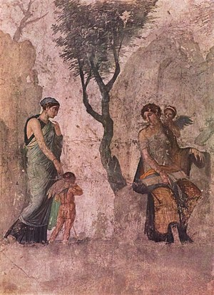 Peitho - Pompeiian fresco of Peitho (left) taking Eros to Venus and Anteros, circa 25 BCE, Naples National Museum.