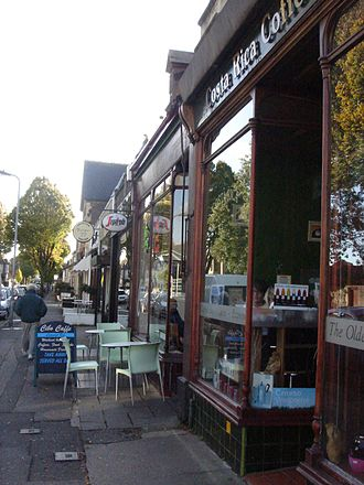 Pontcanna - Row of cafés on Pontcanna Street.