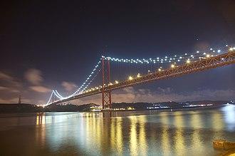 25 de Abril Bridge - The 25 de Abril Bridge at night.
