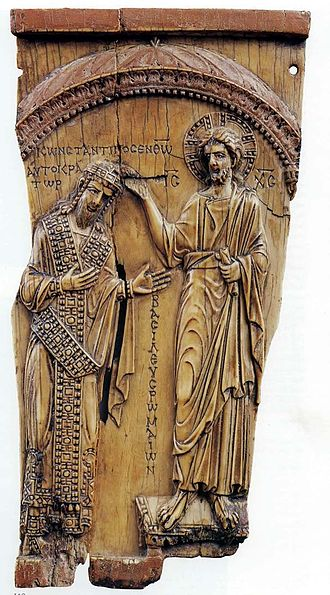 Constantine VII - Constantine VII Porphyrogennetos crowned by Christ, ivory, ca. 945