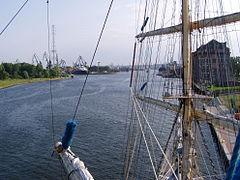 Port of Gdansk from mainmast of Fryderyk Chopin
