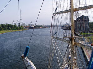 Port of Gdańsk - Port of Gdańsk from mainmast of Fryderyk Chopin