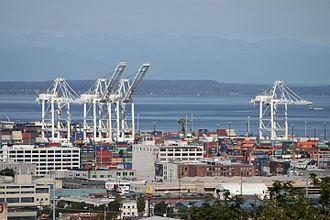 Northwest Seaport Alliance - Cargo cranes at Terminal 46 of North Harbor (Port of Seattle)