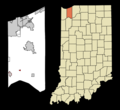 Porter County Indiana Incorporated and Unincorporated areas Boone Grove Highlighted.png