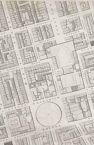 Portland Place - Portland Place is the wide street at the top of this 1790s map. At that time it terminated abruptly to the south at the gardens of Foley House.