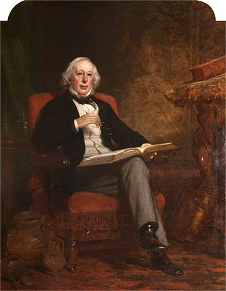 Coulter, South Lanarkshire - Portrait of the antiquarian Adam Sim of Coulter Mains (1805–1868) by Daniel Macnee (1806-1882), in Biggar Museum.