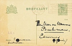 Postcard by Piet Mondriaan to Chris and Nelly Beekman 1919-06-20 recto.jpg