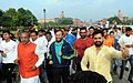 Prakash Javadekar and the Minister of State for Youth Affairs and Sports (IC), Water Resources, River Development and Ganga Rejuvenation, Shri Vijay Goel participating in the 11th Slum Yuva Daud from Boat Club.jpg