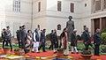 Pranab Mukherjee alongwith the Vice President and Chairman Rajya Sabha, Shri Mohammad Hamid Ansari, the Prime Minister, Dr. Manmohan Singh, the Speaker, Lok Sabha.jpg