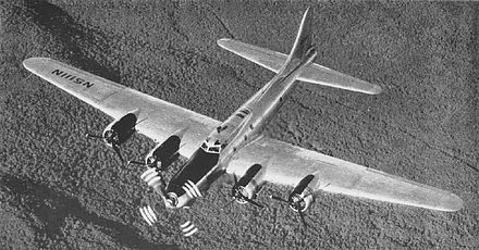 "B-17 modified for testing of the XT-34 turboprop. When testing concluded, the aircraft was restored to stock configuration as the ""Liberty Belle"", but was lost in a post-forced-landing fire near Oswego, Illinois on 13 June 2011. Pratt-Whitney T-34 B-17 testbed NAN10-50.jpg"