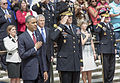 President Barack Obama, front left, and U.S. Army Maj. Gen. Michael S. Linnington, front, second from left, the commanding general of the Military District of Washington, render honors during the playing of taps 130527-D-HU462-159.jpg