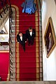 President Barack Obama and President François Hollande of France, followed by First Lady Michelle Obama, descend the Grand Staircase of the White House prior to the State Dinner, Feb. 11, 2014.jpg