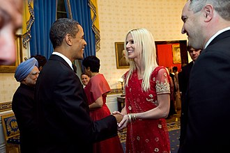 Gate crashing - President Barack Obama greets Michaele and Tareq Salahi (two uninvited guests) in a receiving line in the Blue Room of the White House before the state dinner with Prime Minister Manmohan Singh of India on 24 November 2009.