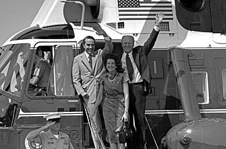 Marine One - Senator Robert Dole, Elizabeth Dole, and President Gerald Ford disembarking Marine One in 1976