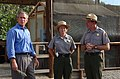 President George Bush, National Park Service Director Fran Mainella, and Santa Monica Mountains National Recreation Area Superintendent Woody Smeck, left to right, during Presidenti - DPLA - 6e5df675632c742c392e774e12f80006.jpg