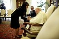 President George W. Bush and Mrs.Laura Bush meet with Pope John Paul II.jpg