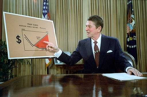 President Ronald Reagan addresses the nation from the Oval Office on tax reduction legislation