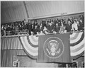 President Truman and his family seated in the bleachers at the inaugural gala at the National Guard Armory in... - NARA - 200000.tif