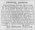 Probate notice for Mary Pitman, single woman LCCN2002719619.jpg