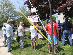 IRS targeting controversy - Protesters at IRS facility in Mountainside, New Jersey on May 21, 2013.