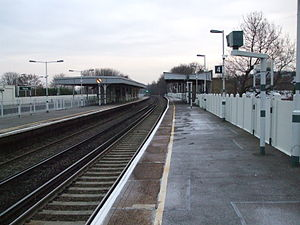 Purley Oaks railway station - Station platforms looking north - fast lines on far left