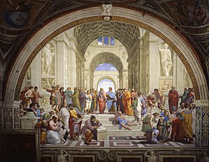 Academy - The School of Athens, fresco by Raphael (1509–1510), of an idealized academy