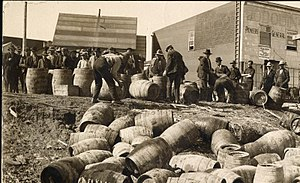 Rum-running - A liquor raid in 1925, in Elk Lake, Ontario