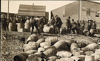 Prohibition - A police raid confiscating illegal alcohol, in Elk Lake, Canada, in 1925.