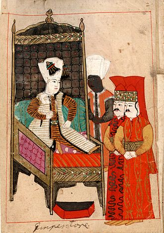 Sultan - Ottoman Sultan Mehmed IV attended by a eunuch and two pages.
