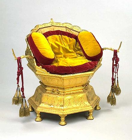 Maharaja Ranjit Singh's throne, c. 1820-1830, Hafiz Muhammad Multani, now at V & A Museum. Ranjit Singh's golden throne.jpg