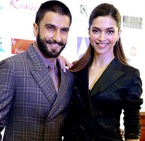 Ranveer Singh - Image: Ranvir, Dipika at the press conference of 'Bajirao Mastani'