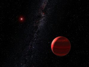 An artist's impression of a planet in orbit around a red dwarf
