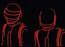 Two robotic figures outlined in red can be seen against a black background.