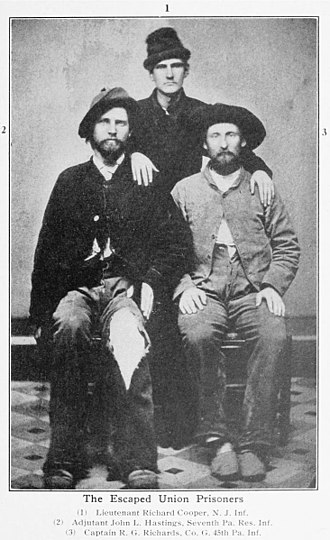 Pennsylvania Reserves - March 17, 1865 photo of three Union soldiers who escaped Confederate Prison Camp including Lieutenant Richard Cooper New Jersey Infantry, Adjudant John J. Hastings 7th Pennsylvania Reserve Infantry, and Captain Rees G. Richards Company G 45th Pennsylvania Infantry.
