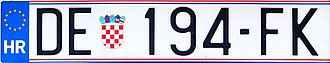 Vehicle registration plates of Croatia - License plate format issued since 2016 (DE stands for Delnice)