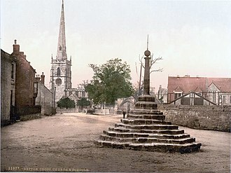 Repton - St Wystan's church and the cross in 1890