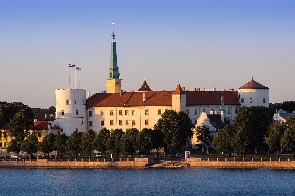 Riga Castle seen across the river Daugava