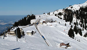 Rigi Railways - The junction at Rigi Staffel in the snow (February 2009) as viewed from Rotstock. The VRB descends to the left, the ARB to the right, with both lines continuing together to the summit, upper right. An ARB train is in the passing loop, whilst another descends to Arth. A third train is stabled on the connecting track between ARB and VRB.
