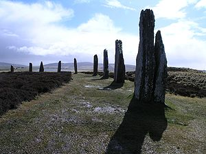 Neolithic British Isles - The Ring of Brodgar, a Neolithic stone circle on Orkney, northern Scotland.