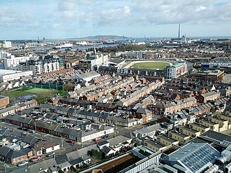 Ringsend - View of Ringsend with South Lotts in foreground; Shelbourne Park and out to Poolbeg can be seen.