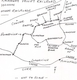 A map of the Rockaway Valley Railroad.  Note that the railroad bridged several large railroads.